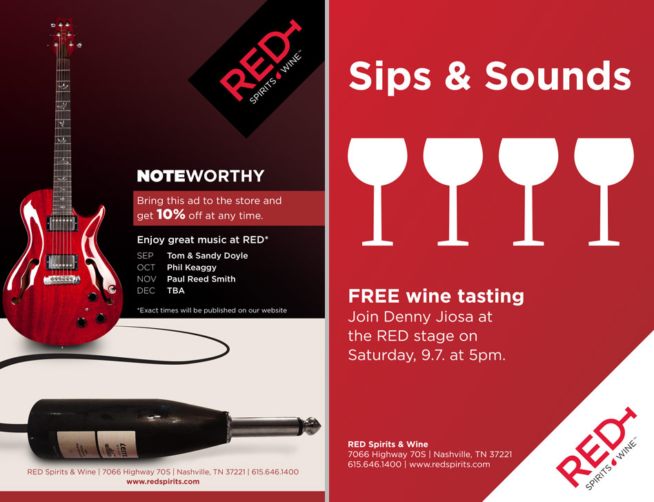 Graphic design for RED Spirits & Wine print advertisement