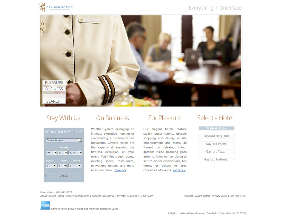 Web design for Gaylord Hotels