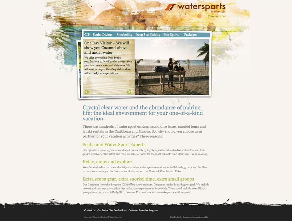 Web design for Watersports Mexico